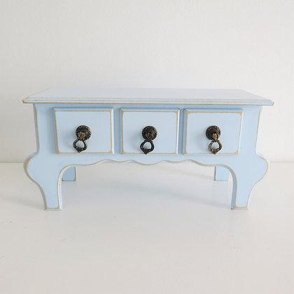 Cômoda Colonial Azul Bebê 3 gavetas