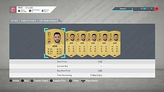 an example of the 'Below BIN Bidding' FIFA Ultimate Team trading method.