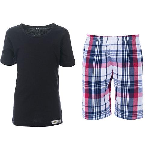 Pijama curto  em malha e tricoline 100% algodão