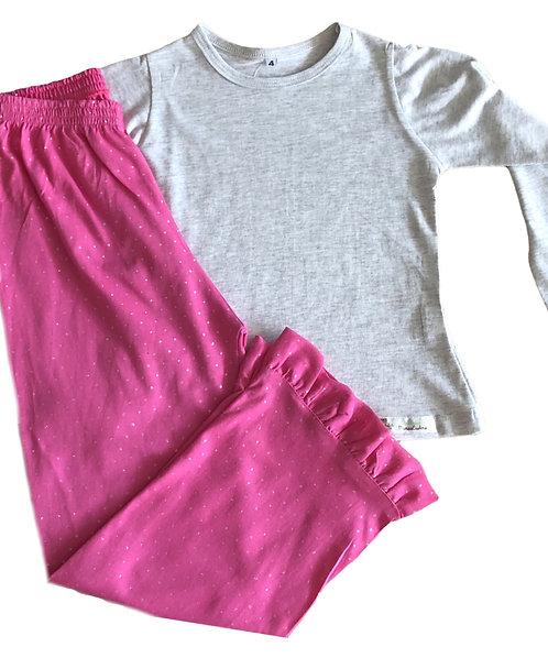 Pijama Malha Glitter Rosa Pink e Cinza mescla