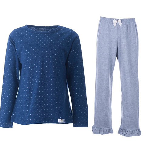 Pijama Malha Glitter Azul Marinho e Cinza
