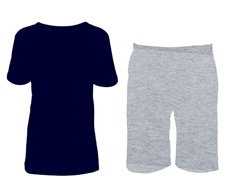 Pijama Cinza e Marinho