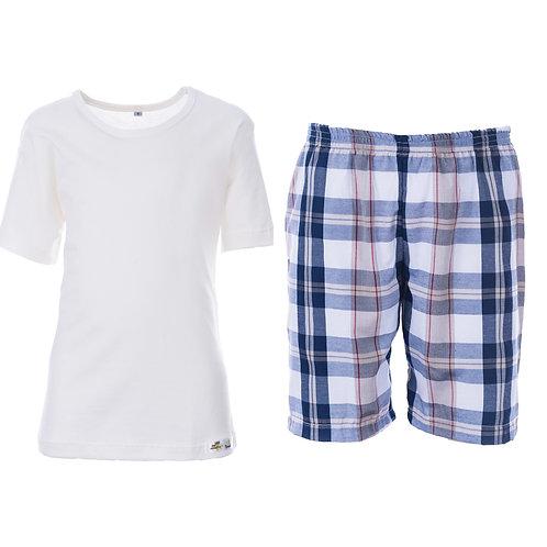 Pijama curto liso malha e tricoline