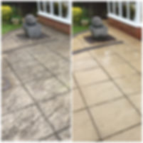 Before and after image of patio cleaning lichen removal