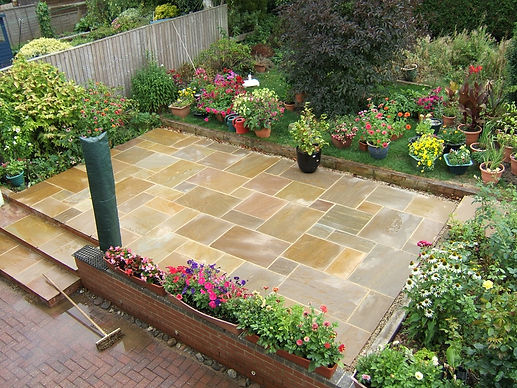 A cleaned indian sandstone patio