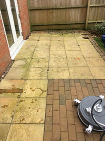 A Patio Before andafter cleanin by Surfce Clean Banbury