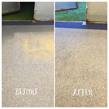 Carpet cleaning. Before and after photo of a golf teaching roo