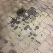 Engine oil on block paving drive