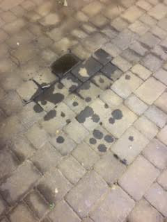 Engine oil on block paving drive
