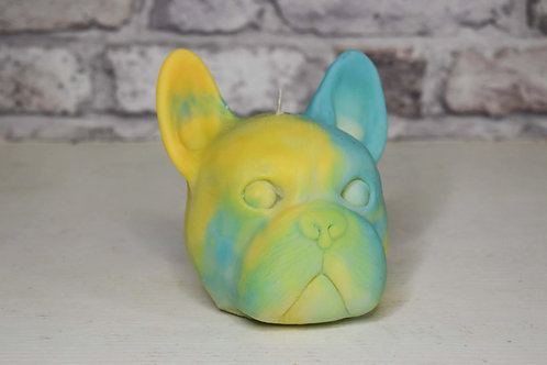 Yellow &blue frenchie candle
