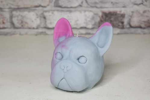 Blue & pink frenchie candle