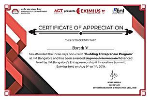 Eximius 2019 BEP Certificate 19BEP0549 B