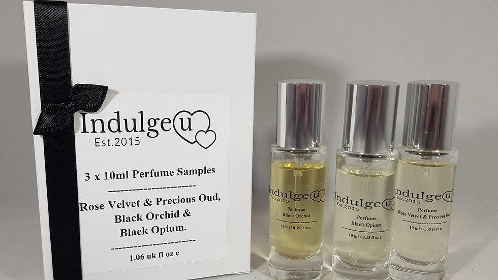 3 x 10ml Perfume Sample Box Set