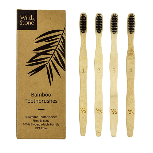 Adult Bamboo Toothbrush - 4 Pack - Wave Bristles  - Firm