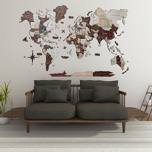 3D Multilayered World Map Color Cappuccino