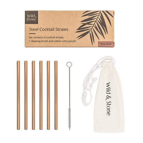 Steel Cocktail Drinking Straws - Rose Gold - 6 Pack