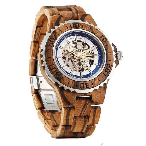 Men's Genuine Automatic Zebra Wooden Watch
