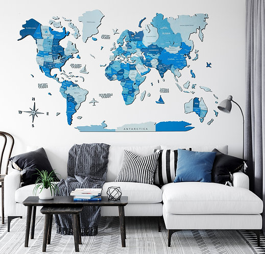 World Map  Azure 3D Multilayered