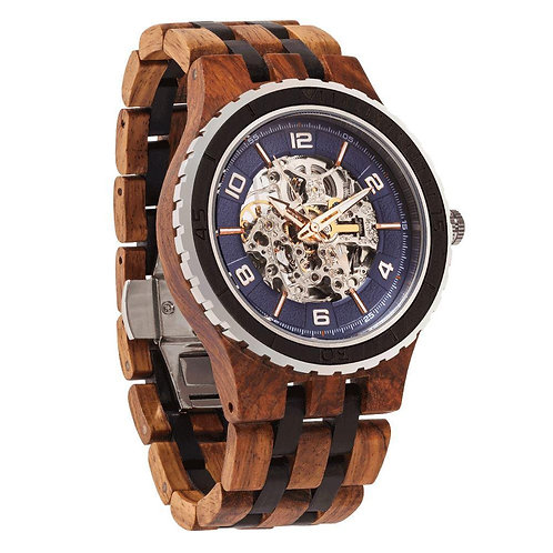 Men's Premium Self-Winding Transparent Body Ambila Ebony Wood Watch