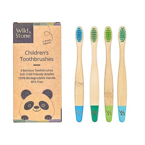 Children's Bamboo Toothbrush - 4 Pack - Aqua Colour