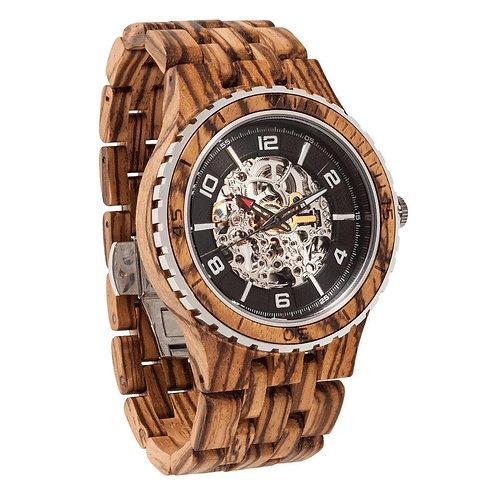 Men's Premium Self-Winding Transparent Body Zebra Wood Watch