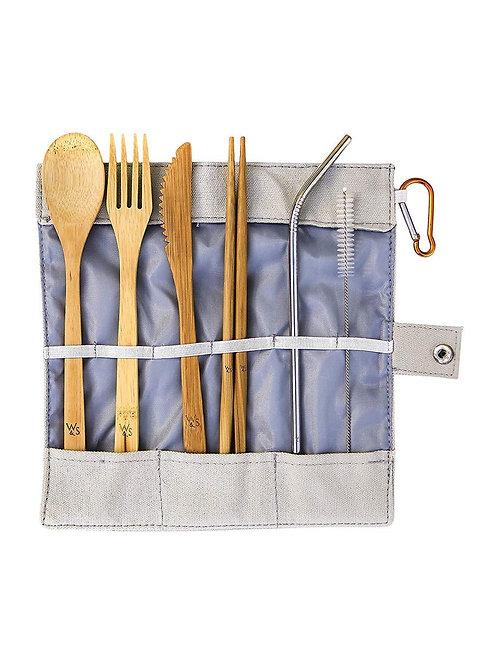 Bamboo Picnic Set - Reusable -8 Piece