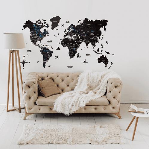 3D Multilayered World Map Color Black