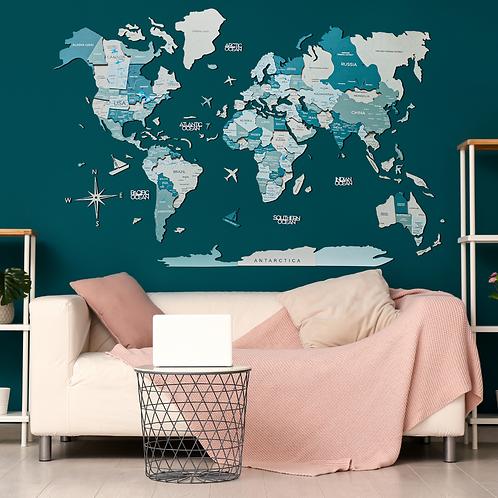 3D Multilayered World Map Color Aqua