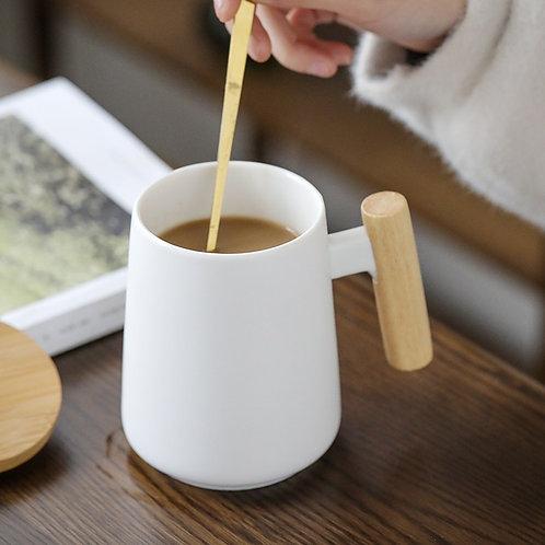 Long Coffee Mug with Wooden Handle