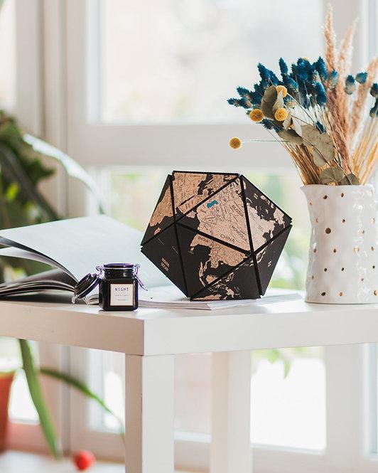 Cork World Icosahedron Black