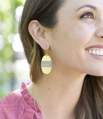Kaia Collection - Gold and Grey Oval Coin Earrings