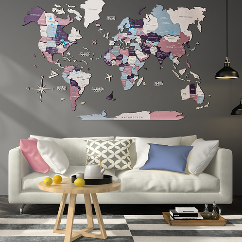 3D Multilayered World Map Color Berry