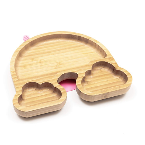 Baby Bamboo Weaning Suction Section Plate - Over The Rainbow