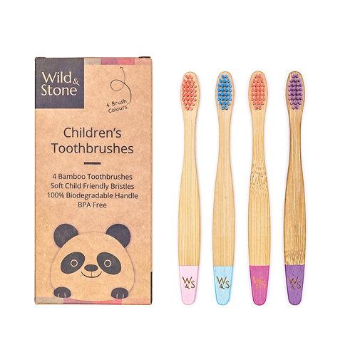 4 Brosses à Dents en Bambou pour Enfants - Poils Tendres -  Couleur Bonbons
