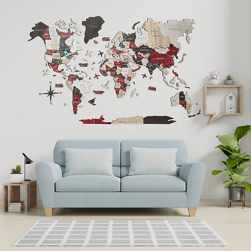 3D Multi-layered World Map Color Urban