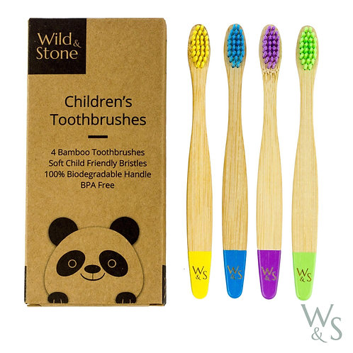 Kid's Bamboo Toothbrush - 4 Pack - Multi-Colour