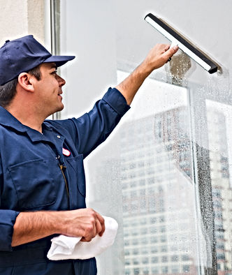 Man cleaning window.