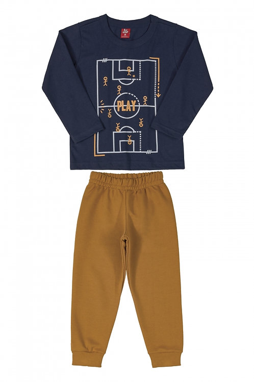 Pijama Futebol Azul e Marrom