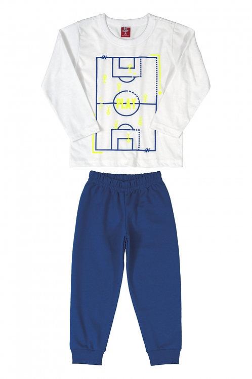 Pijama Futebol Branco e Azul