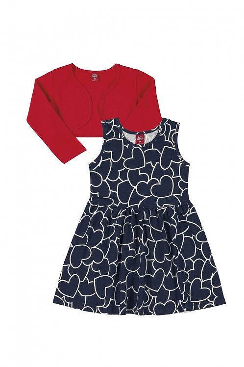 Conjunto Vestido e Bolero - Vermelho e Azul