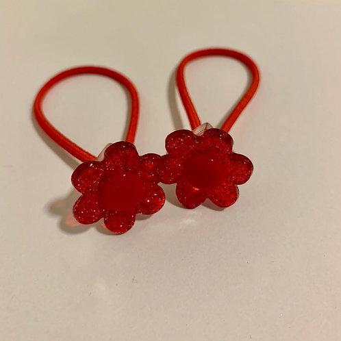 Par elástico florzinhas vermelhas