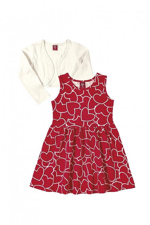 Conjunto Vestido e Bolero - Vermelho e Branco