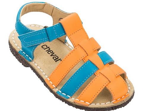 Sandália Infantil ioiô Laranja/ Azul