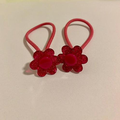 Par elástico florzinhas pink