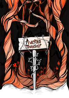The Cover of the Live From Averno Podcast. A black background stands behind brown and orange marbled trees, twisting ominously. The bottom of the trees is covered with snow. In the front middle is a white wooden sign that reads Averno Township. Very thin and thorny vines twist around it.