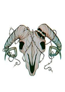 Averno's logo, a ram skull with the right horn cracked where it would attach to the skull. It is wrapped in very delicate vines.