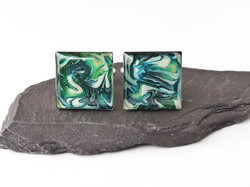 green marbled cufflinks