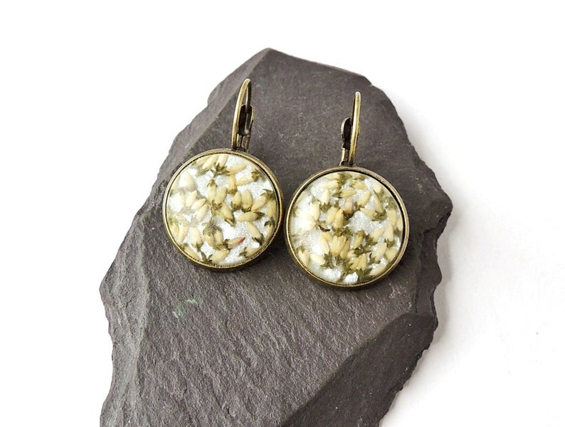 white heather earrings