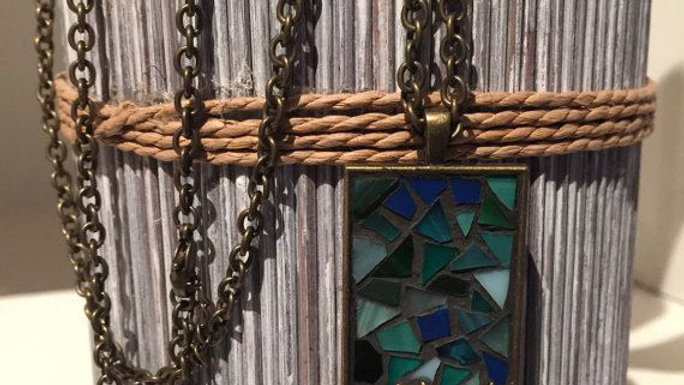"mosaic tile necklace 24"" long"
