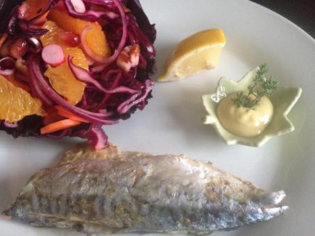 Maquereaux grillés et salade de chou rouge à l'orange - 29 Juillet 2015